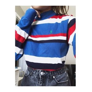 Red, White, and Blue High Neck Long Sleeve Blouse